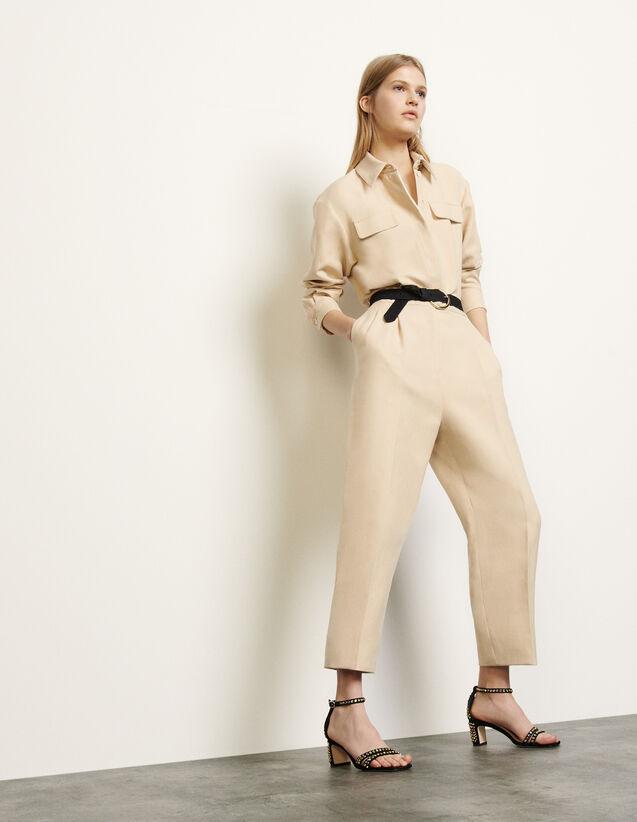 Aviator style jumpsuit : Jumpsuits color Beige