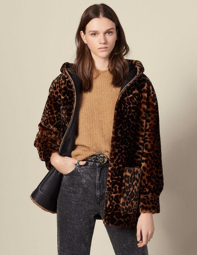 Printed sheepskin coat : Coats color Leopard