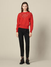 High-Neck Sweater With Front Panel : Sweaters & Cardigans color Red