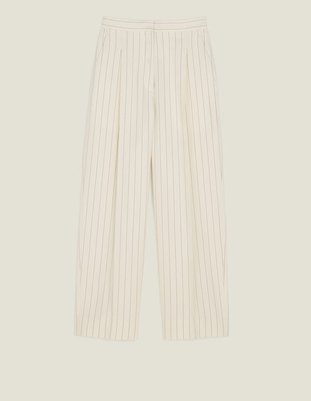 Wide-Leg Tailored Trousers : Pants color white