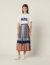 Long Printed Skirt With Pleats : null color Blue