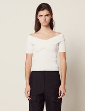 Knit Top With Crossover Neckline : null color white