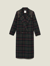 Long Coat With Rhinestone Shoulders : Coats color Bottle Green