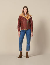 Two-tone sheepskin aviator jacket : JP-CH-FPAP&Accessoires color Brown