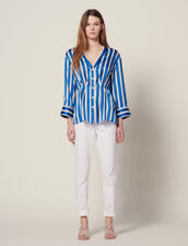 Striped Shirt With Press Studs : null color Blue