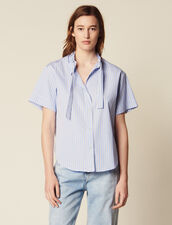 Short-Sleeved Poplin Shirt : Short sleeve shirt color Blue