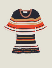 Striped Knit Top : null color Terracotta