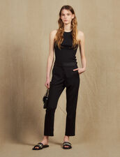 Trousers with satin inset : Pants color Black
