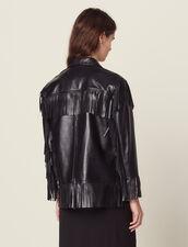 Fringed Leather Jacket : LastChance-FR-FSelection color Black