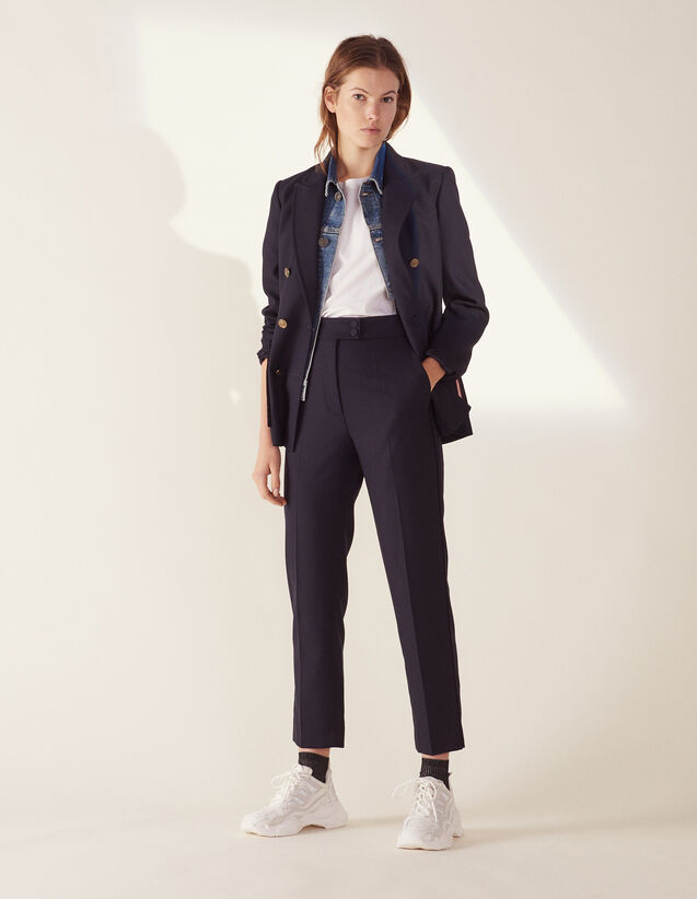 Straight-Cut Tailored Trousers : LastChance-FR-FSelection color Navy Blue