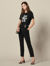 High-waisted trousers with buckles : LastChance-ES-F40 color Black