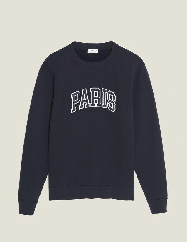 Sweatshirt With Patch Lettering : SOLDES-CH-HSelection-PAP&ACCESS-2DEM color Navy Blue