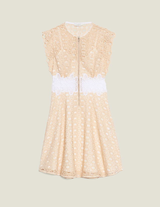 Short Guipure Dress : null color Ivory