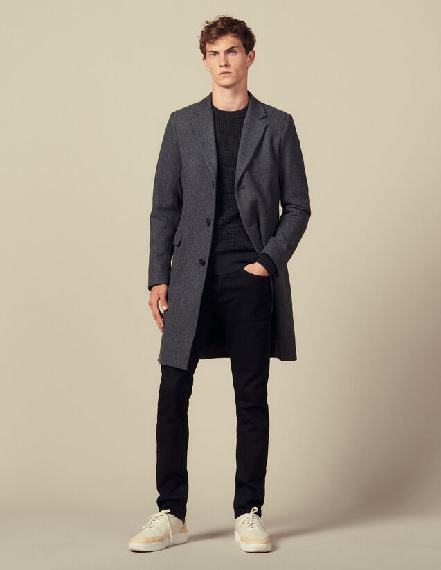 Coat fastened with three buttons : Trench coats & Coats color Mocked Grey