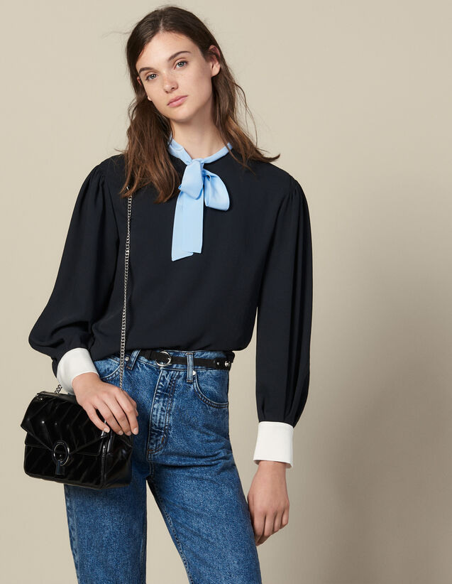 Floaty top with contrasting pussy bow : FBlackFriday-FR-FSelection-50 color Black