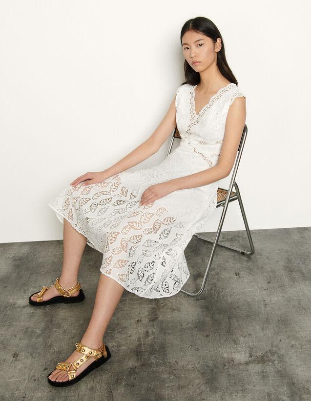 Long sleeveless dress broderie anglaise : Dresses color white