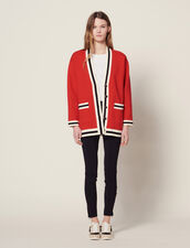 Long Cardigan With Printed Lining : null color Red