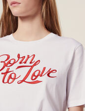 T-Shirt With Embroidered Lettering : T-shirts color white