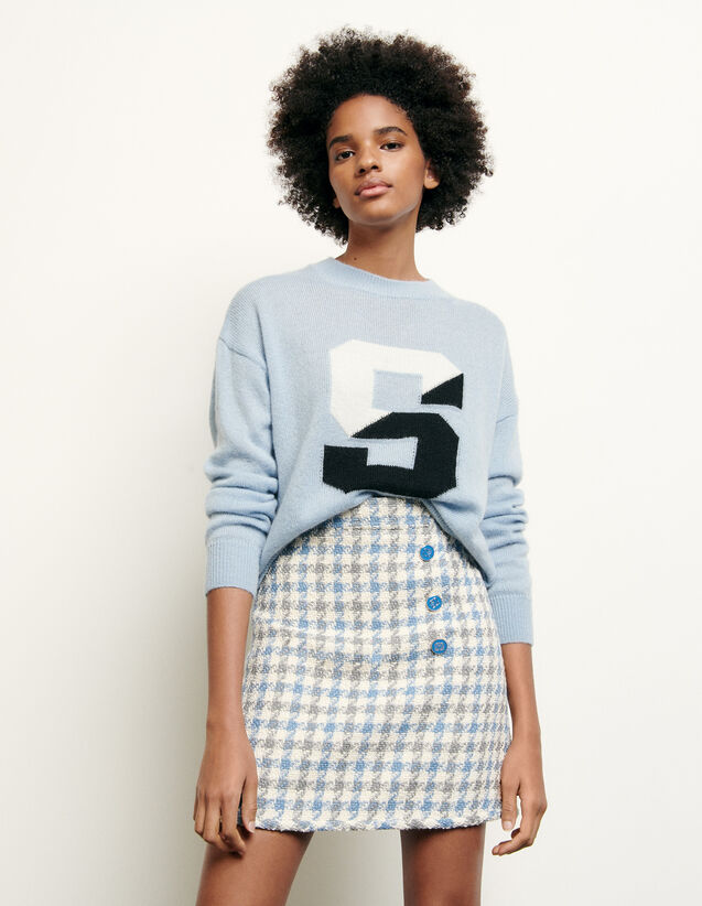 Short houndstooth tweed skirt : Summer Collection color Blue sky