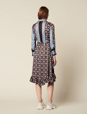 Flowing Printed Shirt Dress : null color Blue