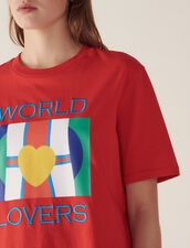 T-Shirt With Flags Logo And Embroidery : null color Red