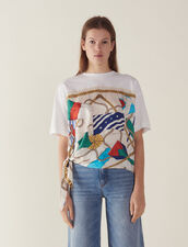 T-Shirt With Silk Insert : null color white