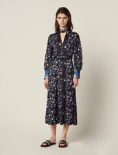 High-Necked Midi Dress With Mixed Prints : null color Blue