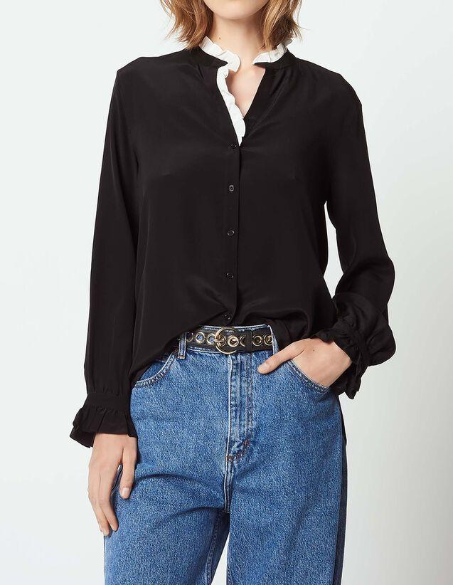 41e01cf97408ef Ruffled silk shirt with mandarin collar   Tops   Shirts color Ecru