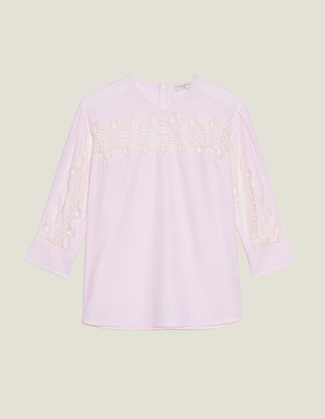 Top With Lace Insert : Tops & Shirts color Pink
