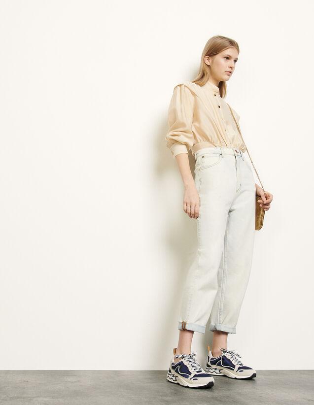 Snow wash jeans : Jeans color Bleached - Denim
