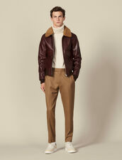 Leather Flight Jacket With Sheepskin : Blazers & Jackets color Black