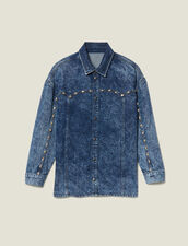 Denim Shirt Trimmed With Studs : FBlackFriday-FR-FSelection-30 color Midnight Blue Denim