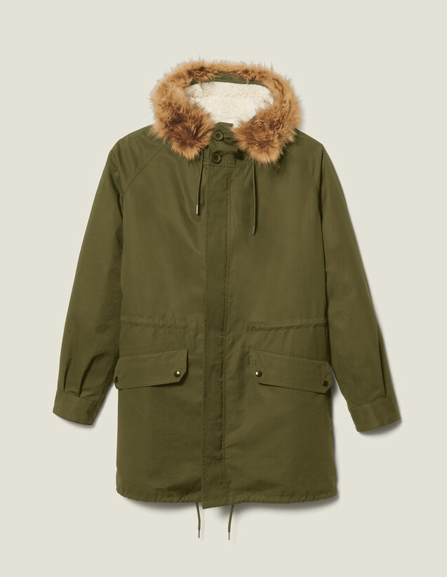 Long parka with hood : Trench coats & Coats color Navy Blue