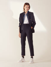 Straight-Cut Tailored Trousers : Pants color Navy Blue