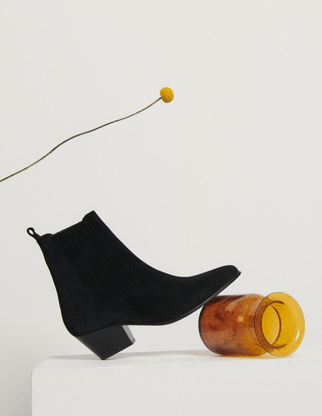 Leather ankle boots with elastic : All Shoes color Black