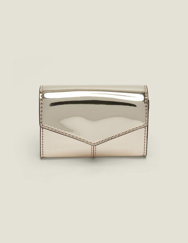 Mirror-Effect Leather Purse : Summer Collection color Gold