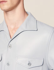 Short-Sleeved Lambskin Shirt : LastChance-FR-H50 color Sky Blue