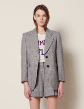 Checked Blazer : null color Grey