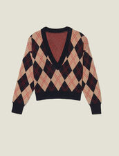V-neck sweater in topstitched jacquard : Sweaters & Cardigans color Multi-Color