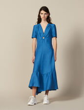 Long Dress Trimmed With A Covered Ring : null color Blue Jean