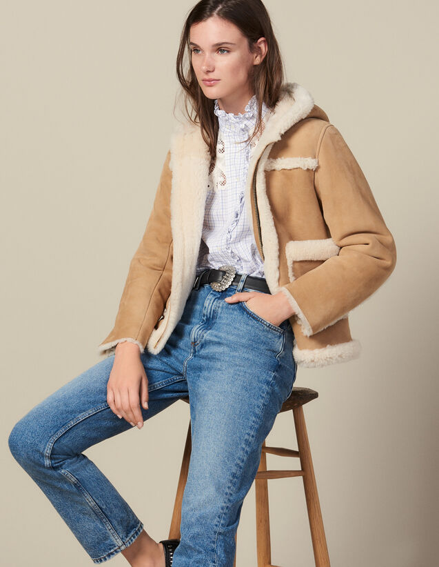 Short Sheepskin Coat With Hood : Coats color Beige