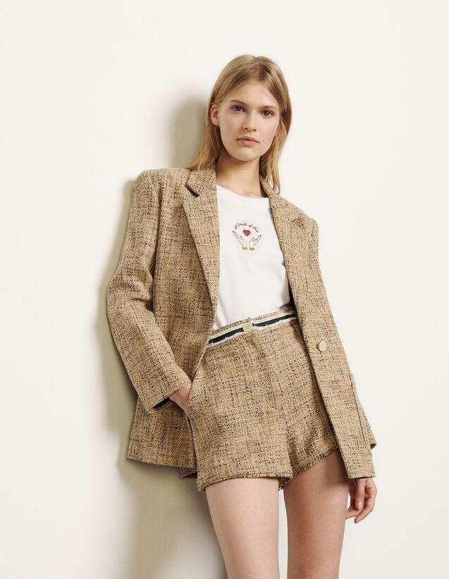 Tweed tailored jacket : Blazers & Jackets color Beige
