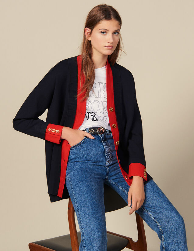 Two-Tone Cardicoat With A Layered Effect : Sweaters & Cardigans color Navy Blue