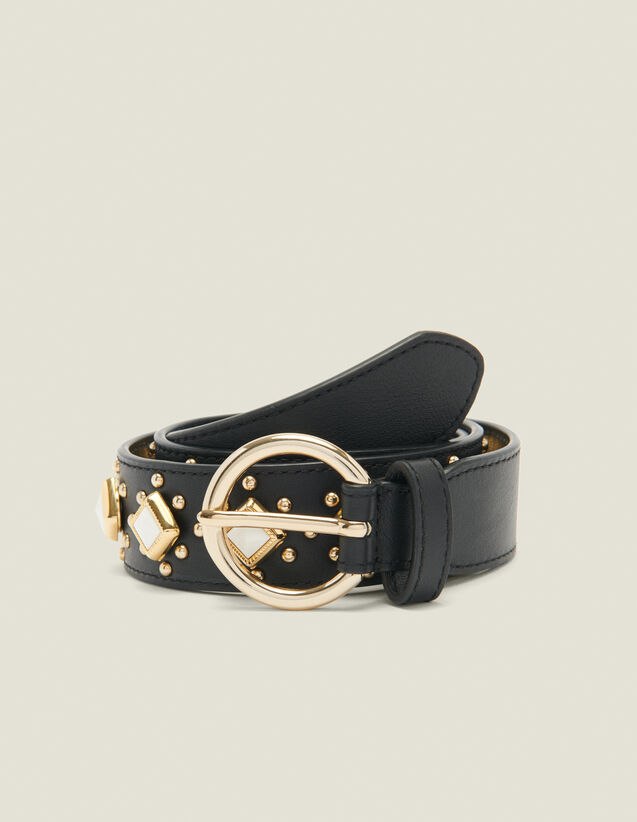 Belt with studs and acetate gemstones : All Accessories color Black