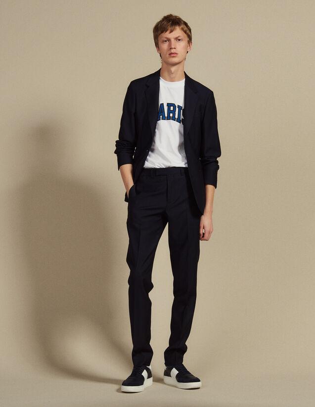Basketweave Wool Suit Trousers : Sélection Last Chance color Navy Blue