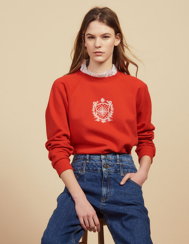 Detachable Victorian Collar Sweatshirt : Sweatshirts color Red