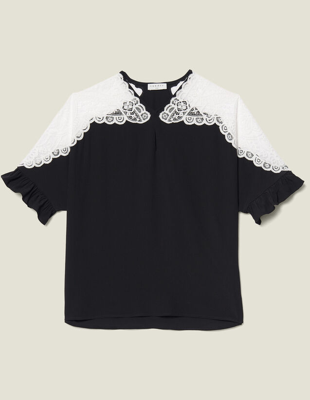 Top With Lace Insert : Tops & Shirts color Black