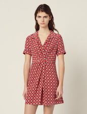 Short Printed Silk Dress : null color Red