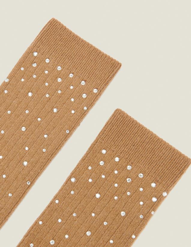Socks embellished with rhinestones : Socks color Camel