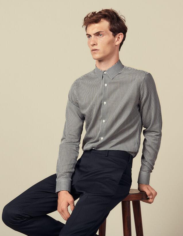 Seamless Micro Check Shirt : Shirts color Navy Blue